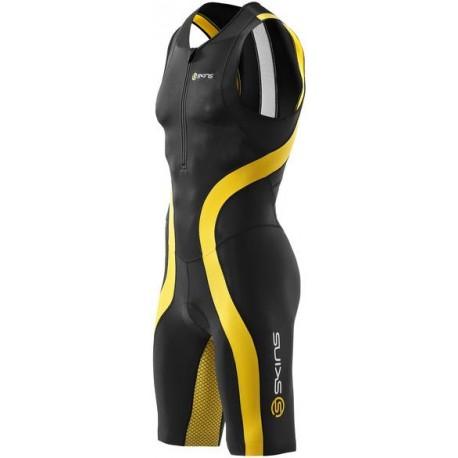 Skins TRI 400 Mens Black/Yellow Skinsuit w Front Zip