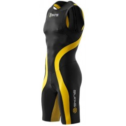 Skins TRI 400 Mens Black/Yellow Skinsuit w Back Zip