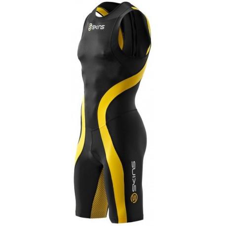 Skins TRI 400 Mens Black/Yellow Skinsuit w Back Zip