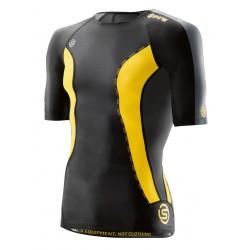 Skins DNAmic Ženské Kompresné tričko s dlhým rukávom Black/Limoncello