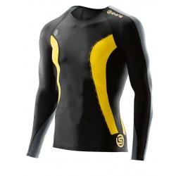 Skins DNAmic Mužské Kompresné tričko s krátkym rukávom Black/Citron